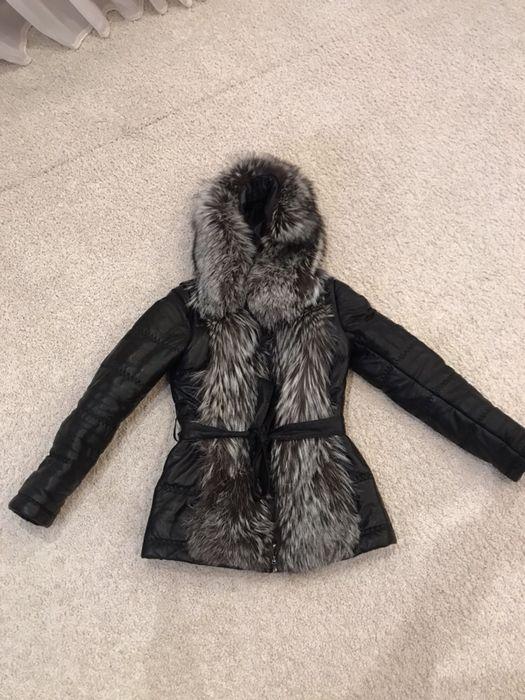 Женская зимняя куртка натуральная кожа , шикарный мех чернобурки !