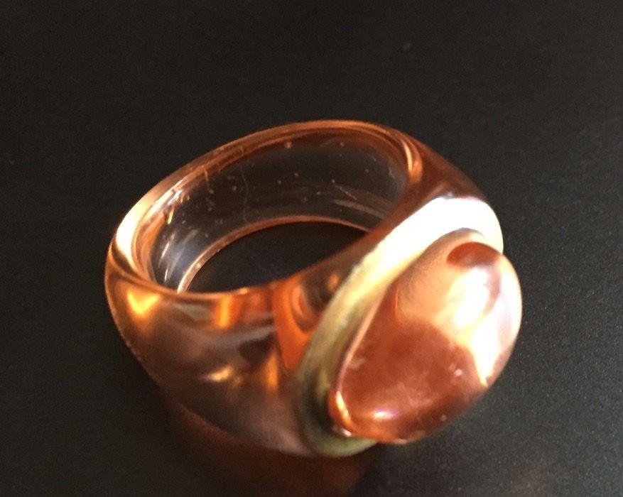 Inel BACCARAT original, din cristal cu aur, semnat, culoare cognac
