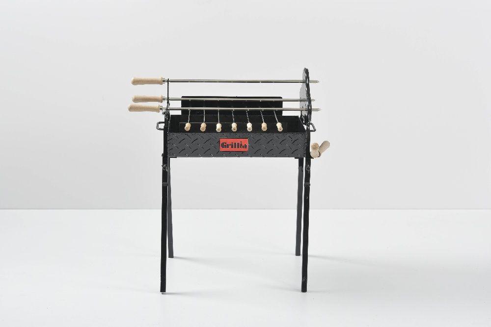Gratar carbune, BBQ mic, 3 rotiserie in triunghi si 7 frigarui, 58cm Ploiesti - imagine 2