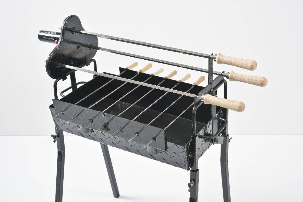 Gratar carbune, BBQ mic, 3 rotiserie in triunghi si 7 frigarui, 58cm Ploiesti - imagine 3