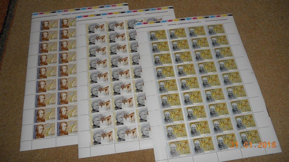 timbre romania coli de 36 serii aniversari 2006
