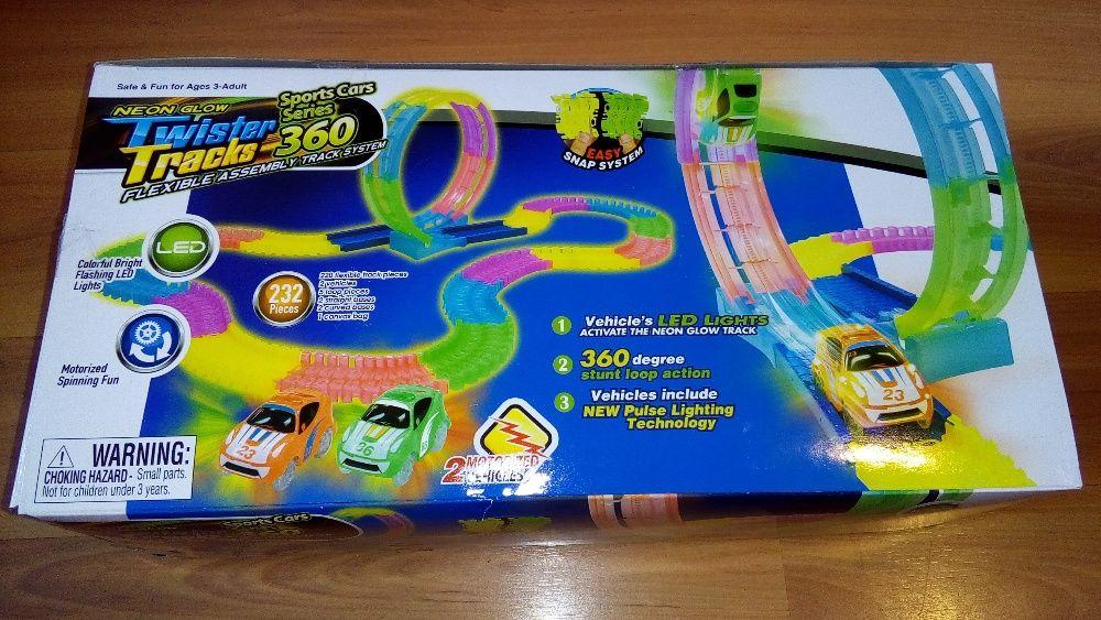 Детска писта + 2 светещи колички Neon Glow Twister Tracks 360 - нови