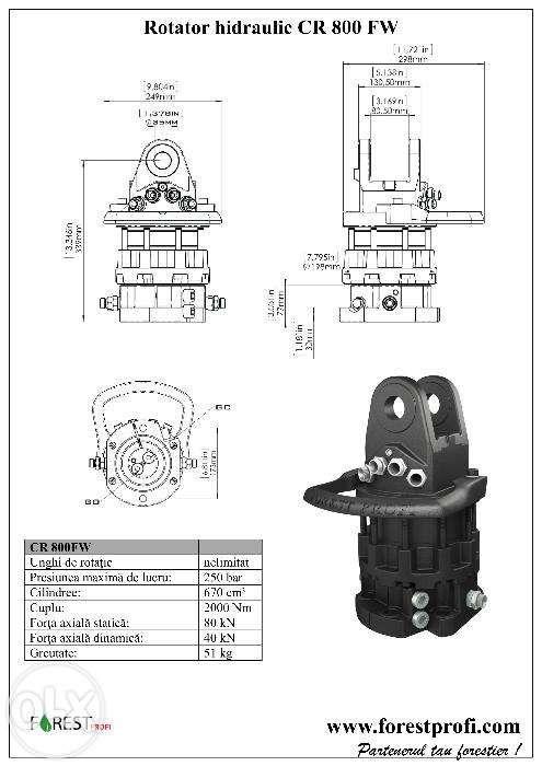 Rotator hidraulic 8 tone (CR-800FW) cu flansa pentru graifer Alba Iulia - imagine 3