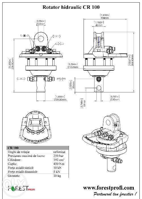 Rotator hidraulic 1 tone cu ax pentru graifer Alba Iulia - imagine 3