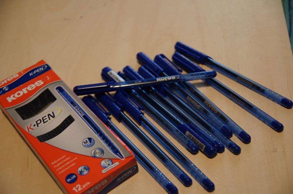 Ocazie ! Cutie 12 buc pixuri originale KORES , albastre, varf tungsten