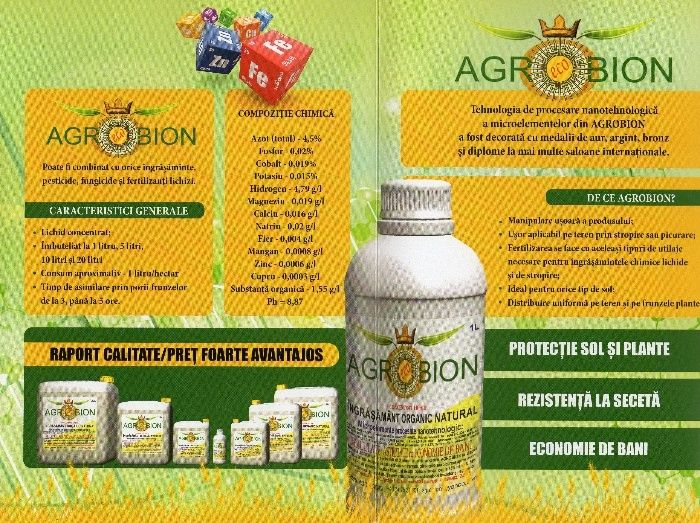 AGROBION ingrasamant organic concentrat,nanotehnologic,foliar.