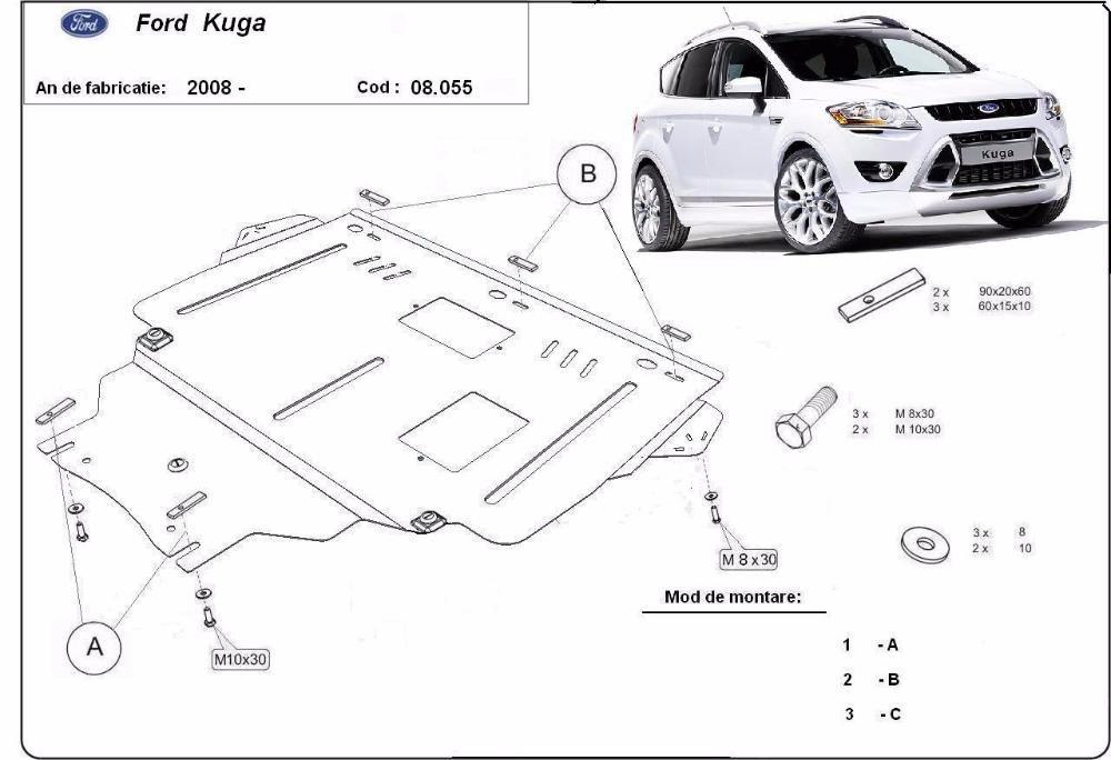 Scut metalic pentru motor Ford Kuga 2008-2012 - otel 2mm