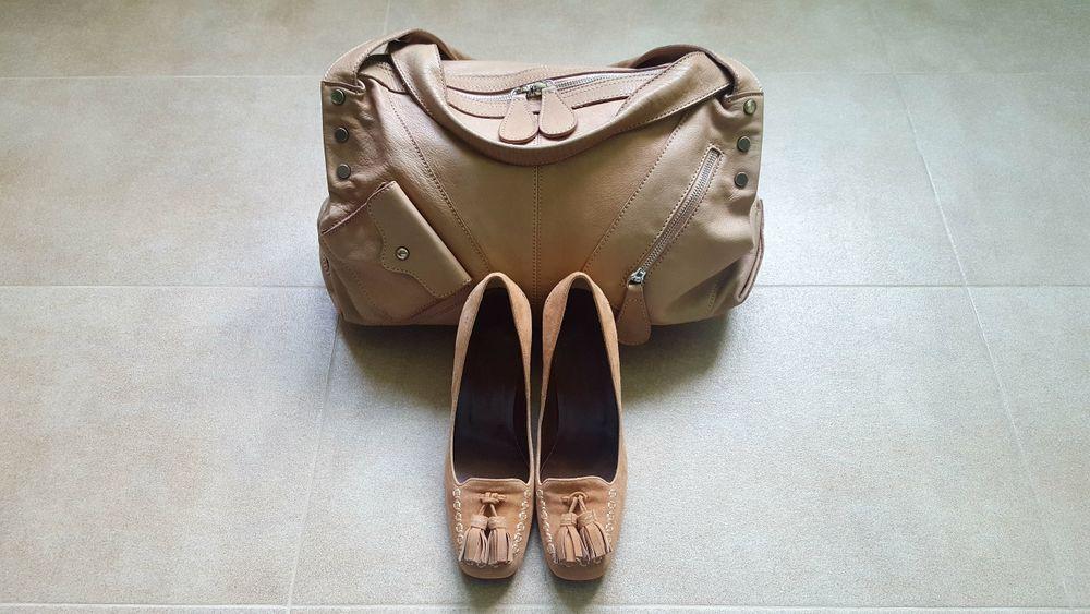 Италианска кожена чанта Minelli с 2 подаръка
