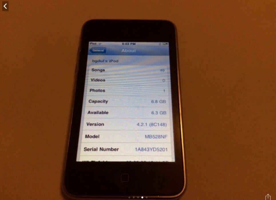 Ipod Touch Gen a II a 8 Gb model A 1288