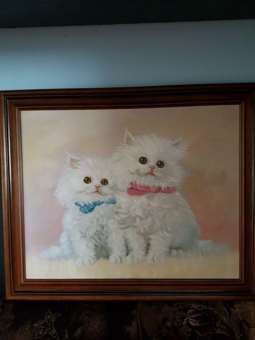 Pisici, tablou superb, u/p,cu ramă, semnat