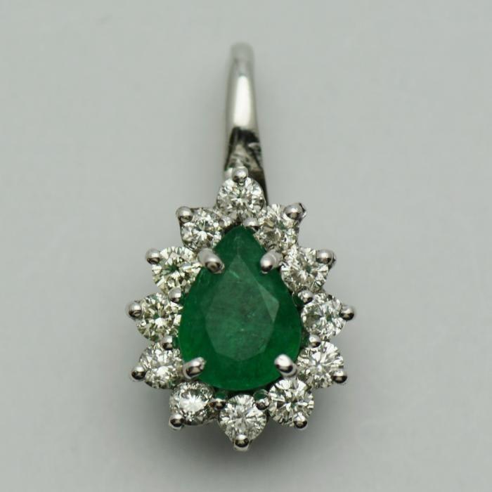 Pandantiv aur alb cu smarald si diamante(cod 5027)