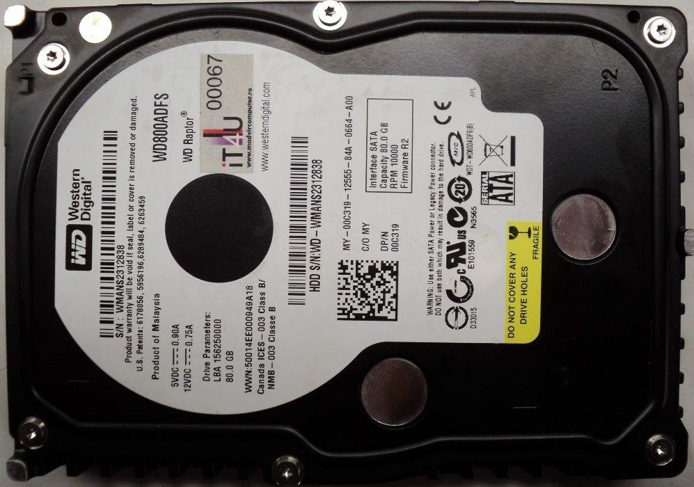 "Hard Disk Sata 3,5"" HDD-80 Gb Western WD800ADFS-75SLR2 Refurbished"