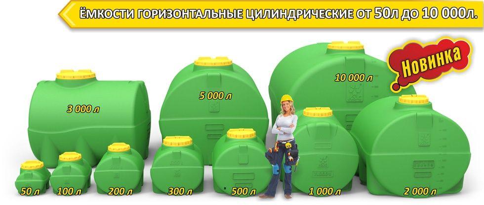 Емкости, бочки, баки для воды, диз топлива, 50л до 10000л