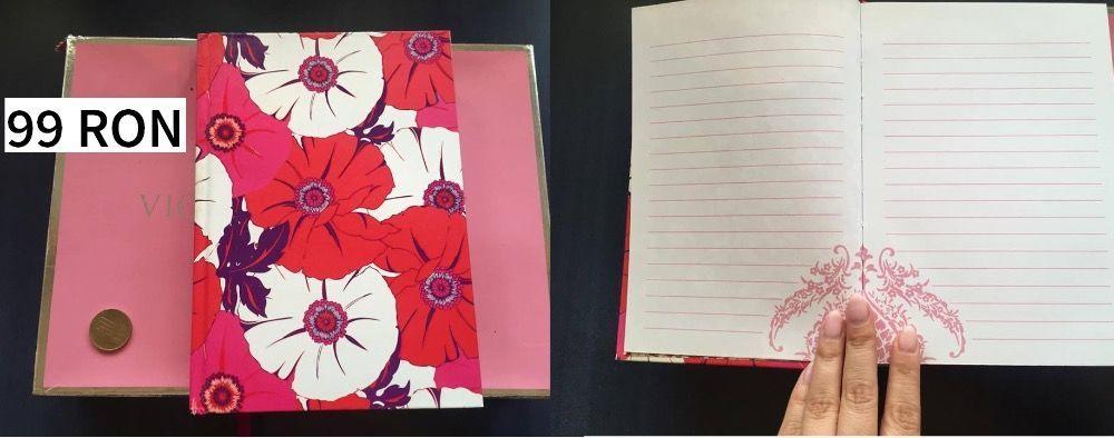 Agenda Jurnal Caiet Notebook Flori - perfecta pentru cadou -roz rosu