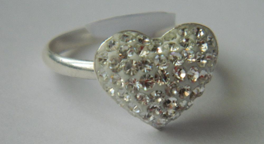 R4,inel argint 925,nou/marcat, in ima medie cu cristale swarovsky albe