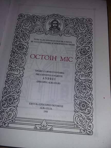 vand CATAVASIER sau OCTOIH MIC 1998,carte religioasa,perfecta stare