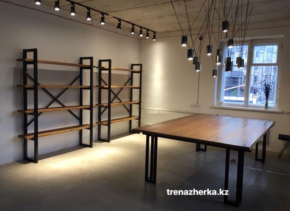Лофт стеллажи, столы, полки, стулья, скамья