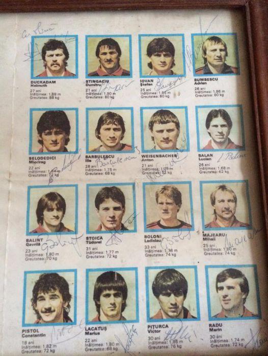 Autografe Steaua Bucuresti Unicat 1986 jucatori/presedinte club/antren