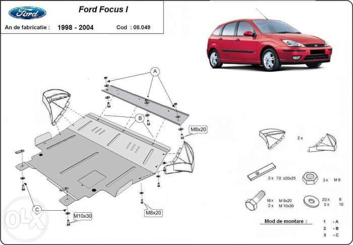 Scut metalic pentru motor Ford Focus 1998-2004 - otel 2mm