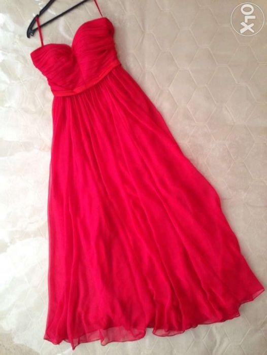 Вечернее платье яркое красное шифоновое/атлас на выпускной