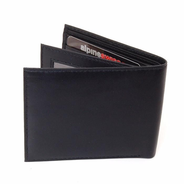 Portofel Casual Barbati Bifold SWISS ALPINE Negru Made IN USA