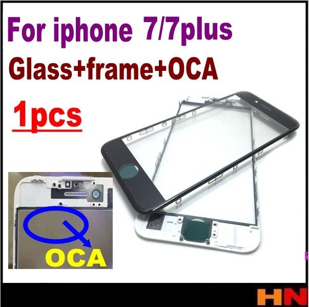Geam display touchscreen cu rama si adeziv oca Iphone 7/ Iphone 7 Plus