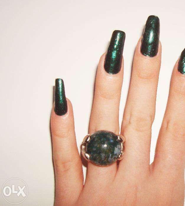 Inel cu piatra semiprețioasă agat de mușchi/Moss + Pandantiv