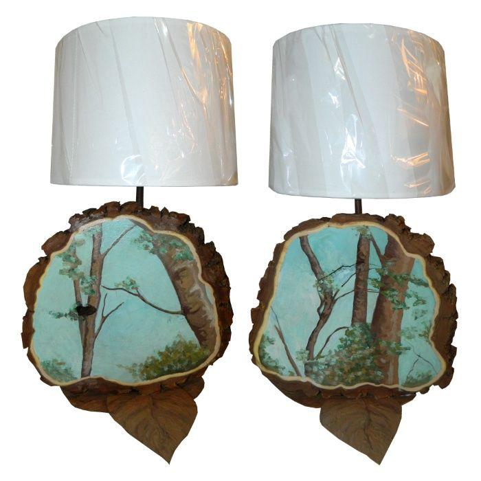 Vand set 2 veioze/lampi unicat, stil vintage - handmade/hand-painted