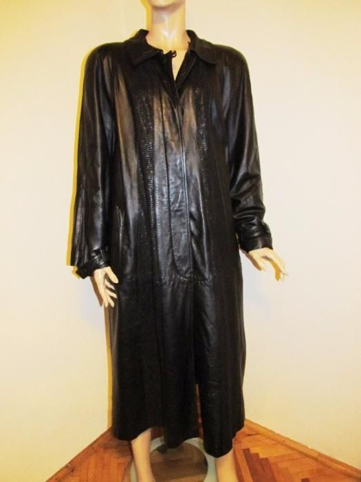 Palton din piele , haina lunga de piele naturala - masura M / L -44-46