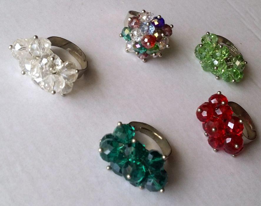 Inel fashion de colectie reglabil cu cristale tip Swarovski - colorate