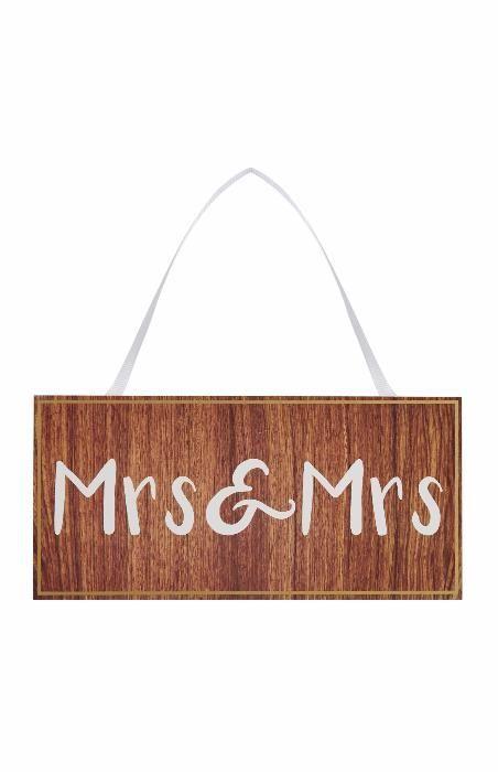 Placa decorativa lemn Mrs & Mrs LGBT , Pride , Gay