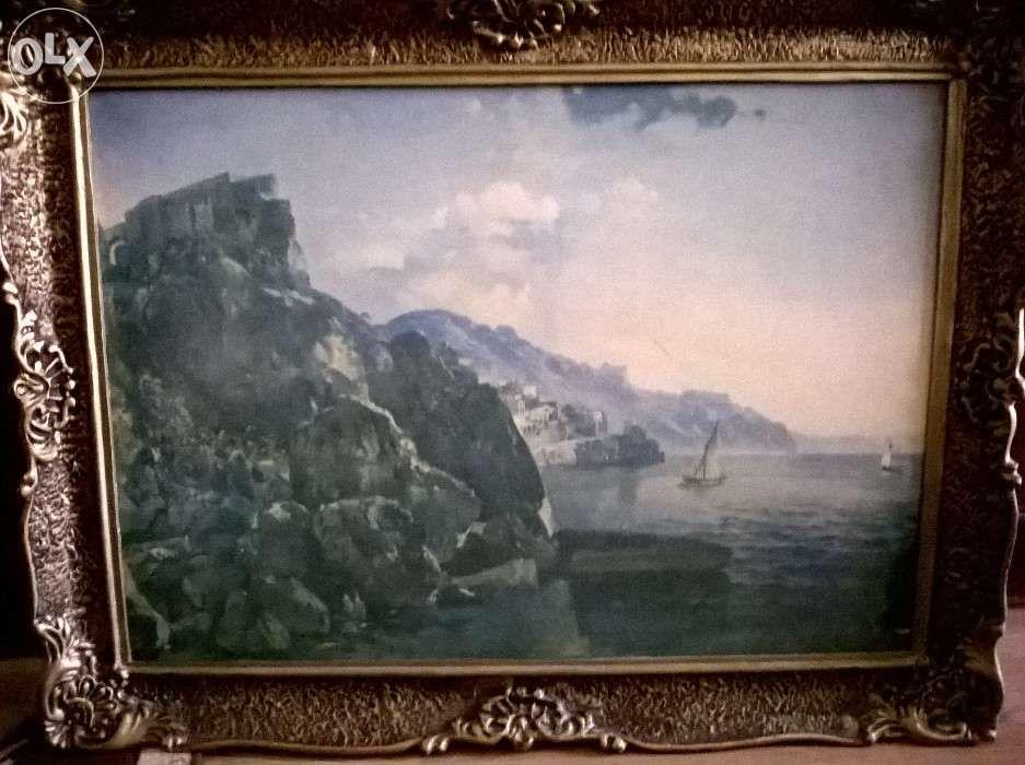Vand tablou vechi peisaj litografie