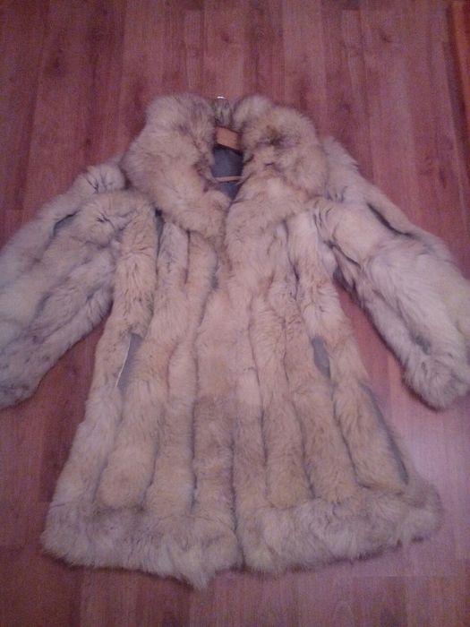 Чисто ново дамско палто от естествен косъм сребърна лисица