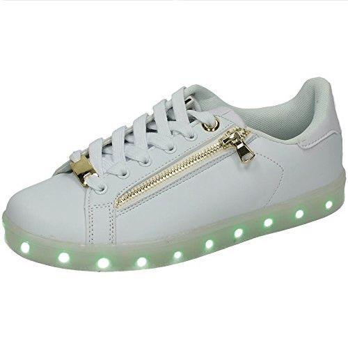 Adidasi cu LED / Leduri White-Zipper