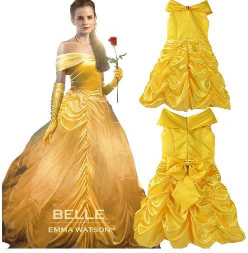 Rochita Printesa Belle Frumoasa si Bestia Saten Serbare Carnaval cadou