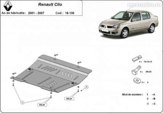 Scut metalic pentru motor Renault Clio 1997-2007 - otel 2mm