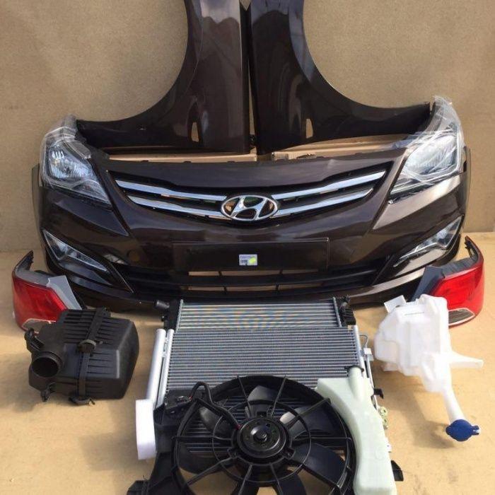 Бампер решетка туманка фара на Hyundai Accent/ Акцент / Solaris 14-16