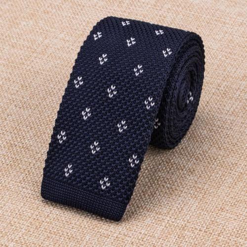 Gravata de Lã - Azul com Detalhes Branco