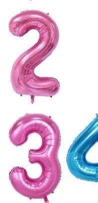 Фолиев балон цифра 1 метър розов, син
