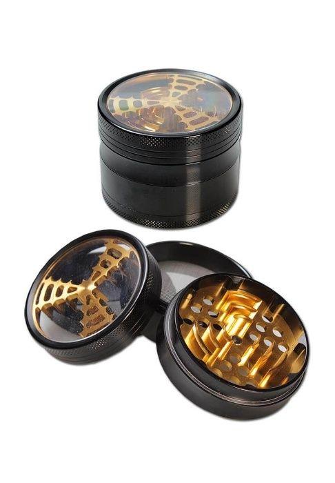 Grinder cu fereastra 4 parti Premium Aluminiu Black & Gold
