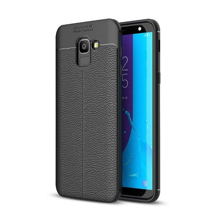 Folie Sticla + Husa Samsung Galaxy J6 (2018) Litchi TPU Negru/albastru