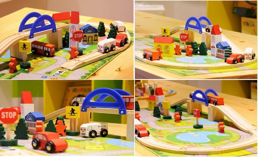 Детски дървен конструктор 40 части с релси,парк,надлез, дървени коли гр. Бургас - image 1