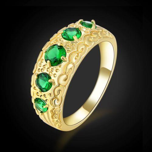 GPR117,inel placat aur 14k, masiv, zircon verde fatetat
