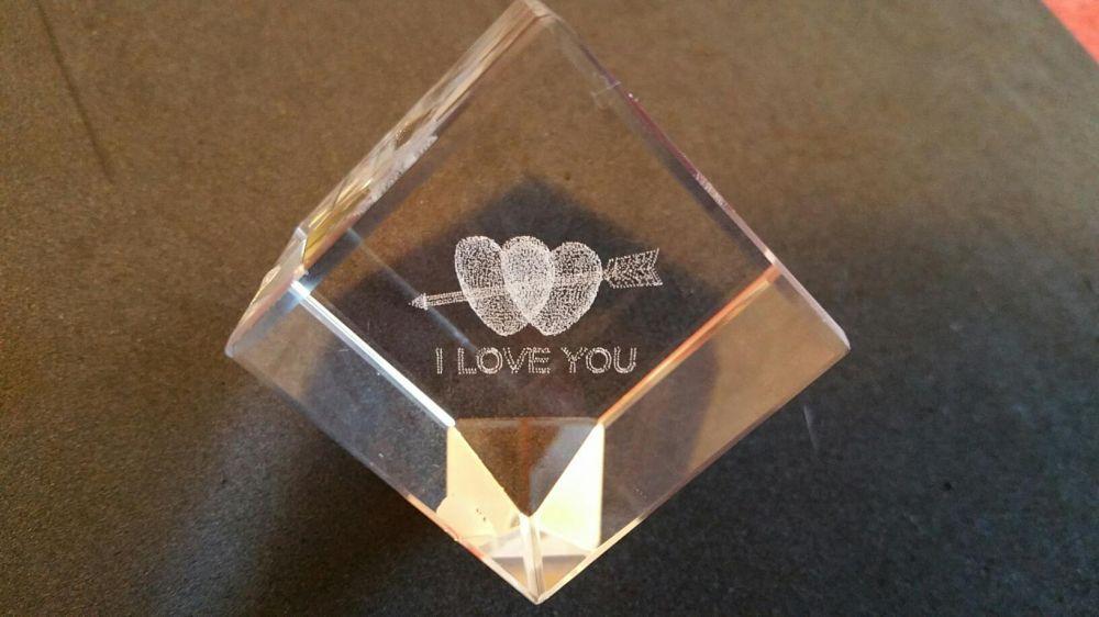 "Cub sticla 3D ""I Love you"""