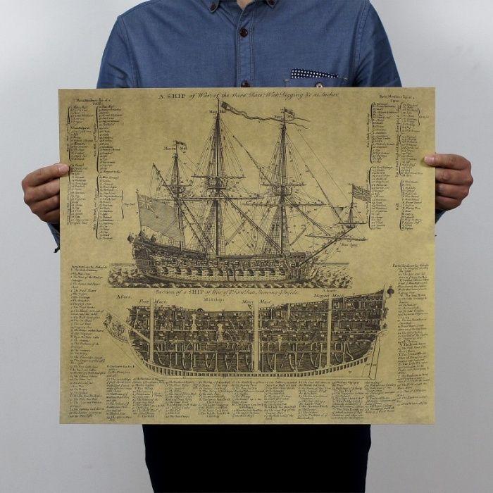 Poster vintage corabie hartie kraft dimensiune 57 x 51 cm