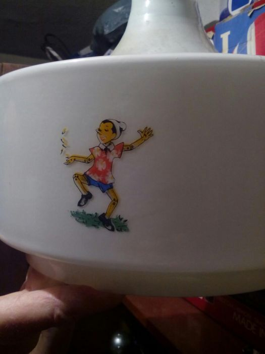 Детски стъклен абажур с Пинокио
