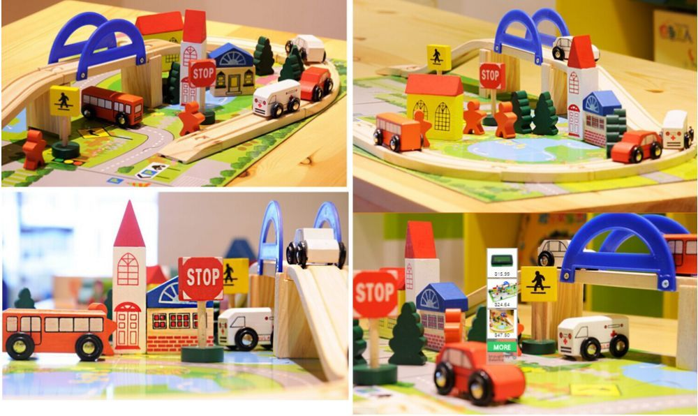 Детски дървен конструктор 40 части с релси,парк,надлез, дървени коли гр. Бургас - image 11
