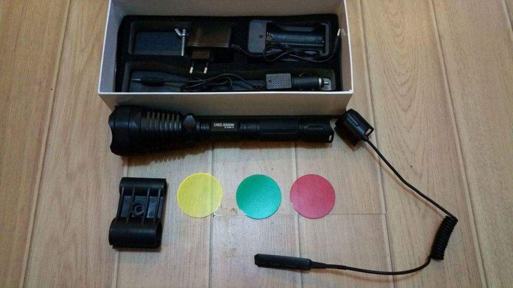 Lanterna pusca cu fir si filtre colorate