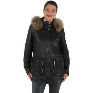 Jacheta dama din piele de vitel Oakwood parka Fregate,masura L neagra