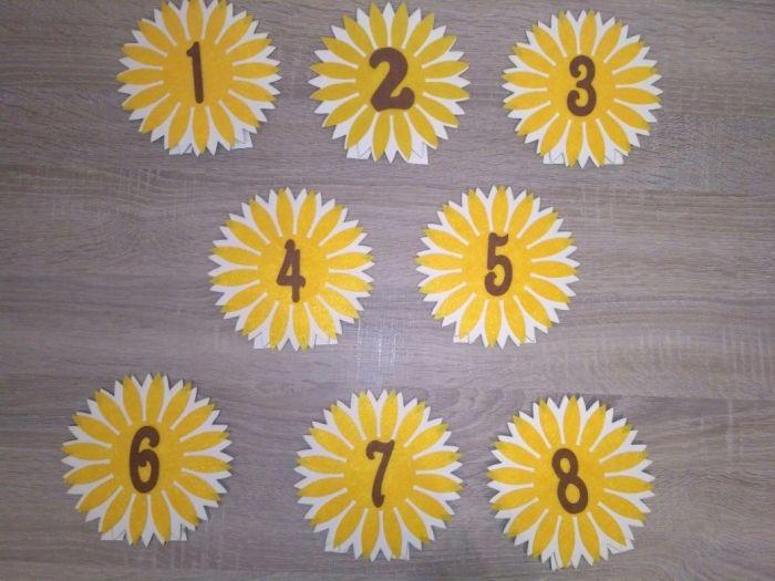 Табелки за маса слънчогледи за сватба/кръщене украса